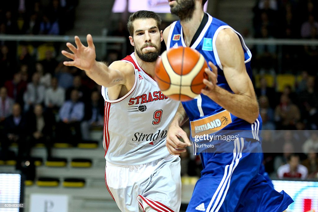 Jeremy Leloup 9 in action during SIG Strasbourg v KK Mornar Regular Season - Group D of Basketball Champions League in Strasbourg, France, on 29 November 2016.