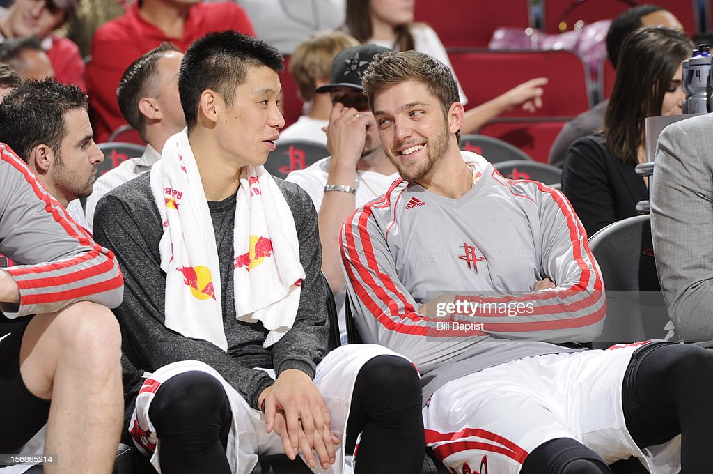 Jeremy Lin #7 and Chandler Parsons #25 of the Houston Rockets talk during the game against the New York Knicks on November 23, 2012 at the Toyota Center in Houston, Texas.