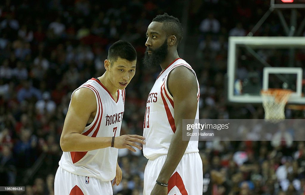 Jeremy Lin #7 (L) and James Harden #13 of the Houston Rockets react to a call against the Miami Heat at the Toyota Center on November 12, 2012 in Houston, Texas.