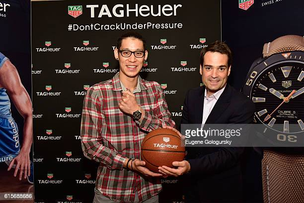 Jeremy Lin and Killian Muller attend the launch of the new TAG Heuer boutique with at Bloomingdale's 59th Street store on October 19 2016 in New York...