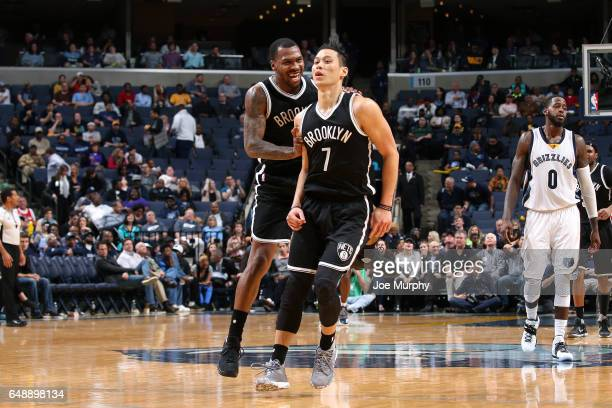 Jeremy Lin and Sean Kilpatrick of the Brooklyn Nets react during the game against the Memphis Grizzlies on March 6 2017 at FedExForum in Memphis...