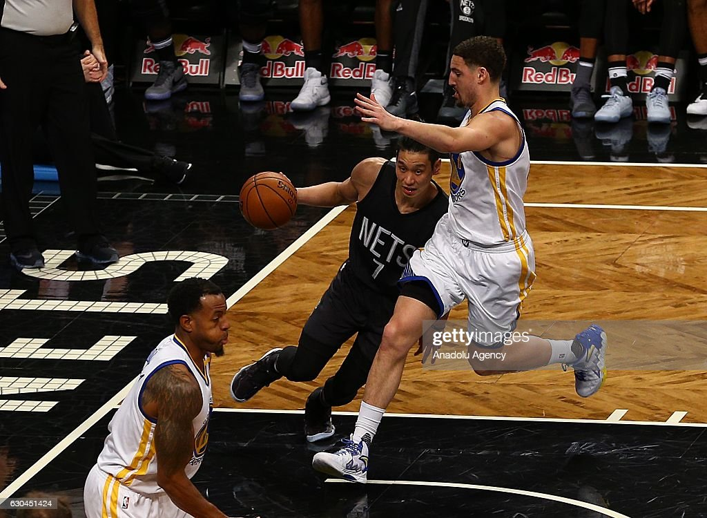 Jeremy Lin (right 2) of Brooklyn Nets in action during NBA game between Brooklyn Nets and Boston Celtics at Barclays Center in New York City, United States on December 22, 2016.