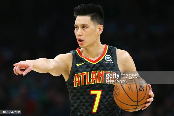 Jeremy Lin of the Atlanta Hawks directs his team during the first quarter against the Boston Celtics at TD Garden on December 14, 2018 in Boston,...