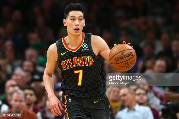 Jeremy Lin of the Atlanta Hawks dribbles against the Boston Celtics during the first quarter at TD Garden on December 14 2018 in Boston Massachusetts