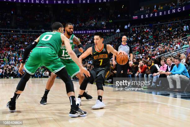 Jeremy Lin of the Atlanta Hawks handles the ball against the Boston Celtics on January 19 2019 at State Farm Arena in Atlanta Georgia NOTE TO USER...