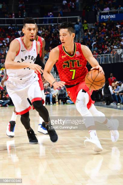 Jeremy Lin of the Atlanta Hawks handles the ball during the game against Danny Green of the Toronto Raptors on November 21 2018 at the State Farm...