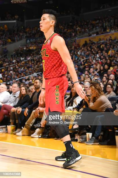 Jeremy Lin of the Atlanta Hawks is photographed during the game against the Los Angeles Lakers on November 11 2018 at STAPLES Center in Los Angeles...