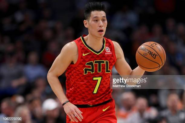 Jeremy Lin of the Atlanta Hawks plays the Denver Nuggets at the Pepsi Center on November 15 2018 in Denver Colorado NOTE TO USER User expressly...