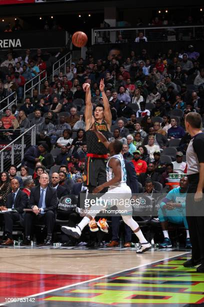 Jeremy Lin of the Atlanta Hawks shoots the ball against the Charlotte Hornets on February 9 2019 at State Farm Arena in Atlanta Georgia NOTE TO USER...