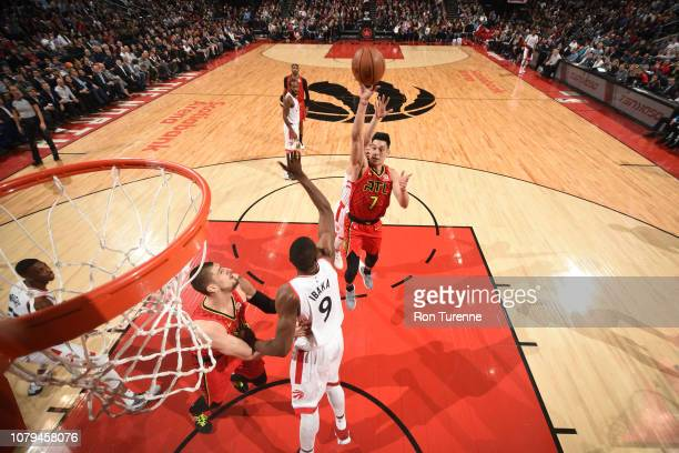 Jeremy Lin of the Atlanta Hawks shoots the ball against the Toronto Raptors on January 8 2019 at the Scotiabank Arena in Toronto Ontario Canada NOTE...