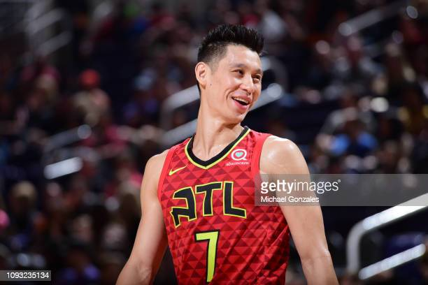 Jeremy Lin of the Atlanta Hawks smiles during a game against the Phoenix Suns on February 2, 2019 at Talking Stick Resort Arena in Phoenix, Arizona....