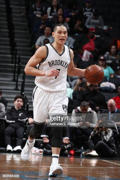 Jeremy Lin of the Brooklyn Nets brings the ball up court against the Orlando Magic during the game on April 1 2017 at Barclays Center in Brooklyn New...