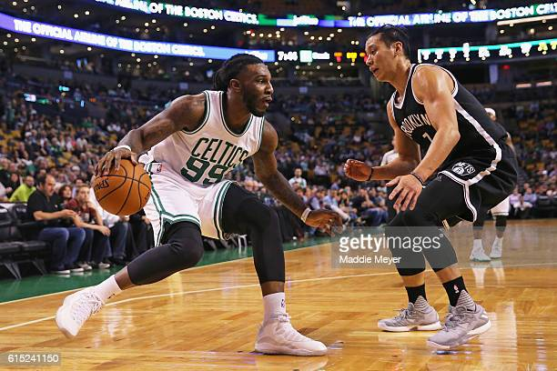 Jeremy Lin of the Brooklyn Nets defends Jae Crowder of the Boston Celtics during the first quarter of the preseason game at TD Garden on October 17...