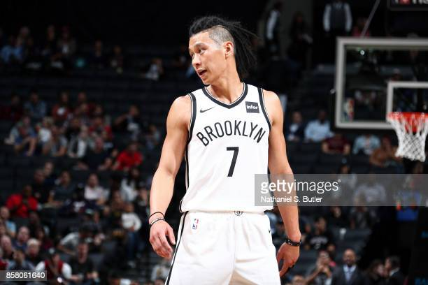 Jeremy Lin of the Brooklyn Nets looks on during the game against the Miami Heat during a preseason game on October 5 2017 at Barclays Center in...