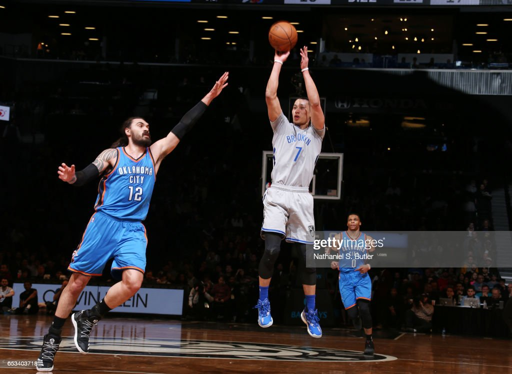 Jeremy Lin #7 of the Brooklyn Nets shoots the ball against Steven Adams #12 of the Oklahoma City Thunder during the game on March 14, 2017 at Barclays Center in Brooklyn, New York.