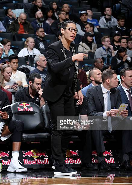 Jeremy Lin of the Brooklyn Nets talks to his team from the bench during the game against the Sacramento Kings on November 27 2016 at Barclays Center...