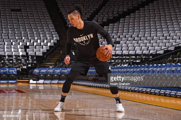 Jeremy Lin of the Brooklyn Nets warms up before the game against the Golden State Warriors on March 6 2018 at ORACLE Arena in Oakland California NOTE...