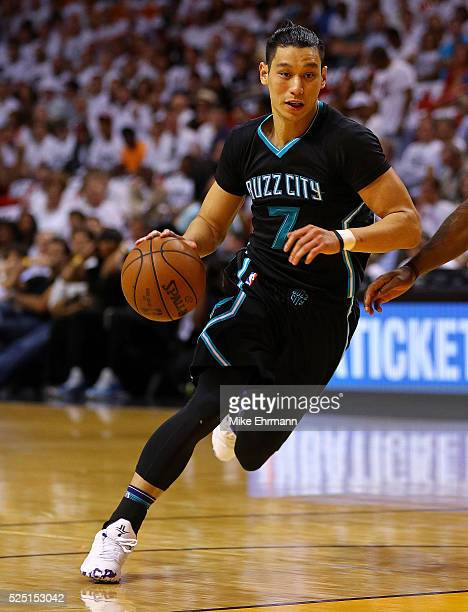 Jeremy Lin of the Charlotte Hornets drives to the basket during Game 5 of the Eastern Conference Quarterfinals of the 2016 NBA Playoffs against the...