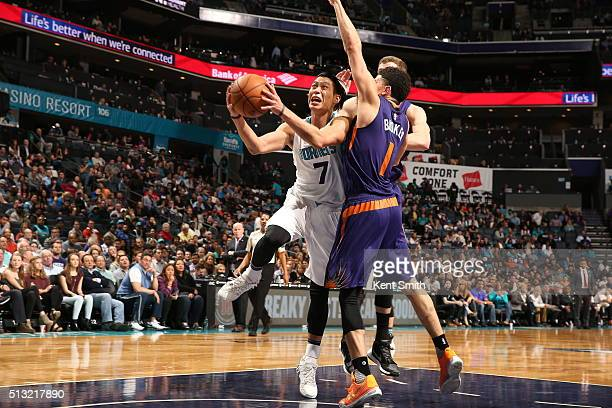 Jeremy Lin of the Charlotte Hornets goes to the basket against the Phoenix Suns on March 1 2016 at Time Warner Cable Arena in Charlotte North...