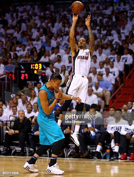 Jeremy Lin of the Charlotte Hornets is fouled by Gerald Green of the Miami Heat during game two of the Eastern Conference Quarterfinals of the 2016...