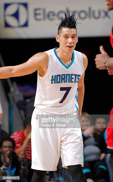 Jeremy Lin of the Charlotte Hornets looks on during the game against the Toronto Raptors on December 17 2015 at Time Warner Cable Arena in Charlotte...