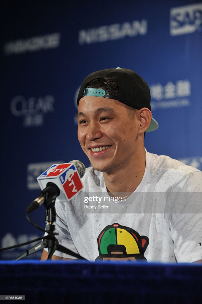 Jeremy Lin of the Charlotte Hornets speaks to the media after the game against the Los Angeles Clippers as part of the 2015 NBA Global Games China at the Mercedes-Benz Arena on October 14, 2015 in Shanghai, China.