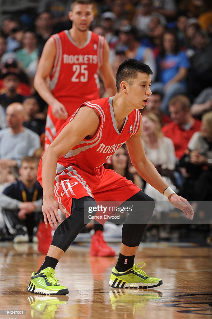 Jeremy Lin #7 of the Houston Rockets defends against the Denver Nuggets on April 9, 2014 at the Pepsi Center in Denver, Colorado.