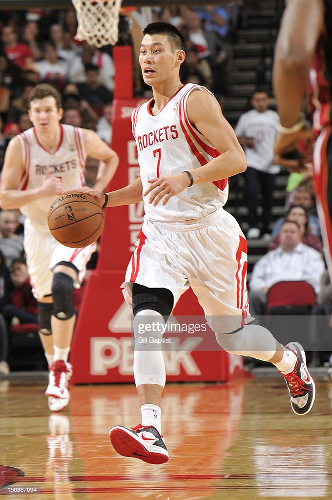 Jeremy Lin #7 of the Houston Rockets dribbles the ball upcourt against the Miami Heat on November 12, 2012 at the Toyota Center in Houston, Texas.
