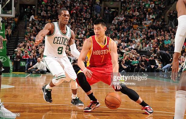 Jeremy Lin of the Houston Rockets drives against Rajon Rondo of the Boston Celtics on January 11 2013 at the TD Garden in Boston Massachusetts NOTE...