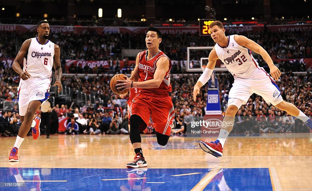 Jeremy Lin #7 of the Houston Rockets drives during the game between the Los Angeles Clippers and the Houston Rockets at Staples Center on February 13, 2013 in Los Angeles, California.