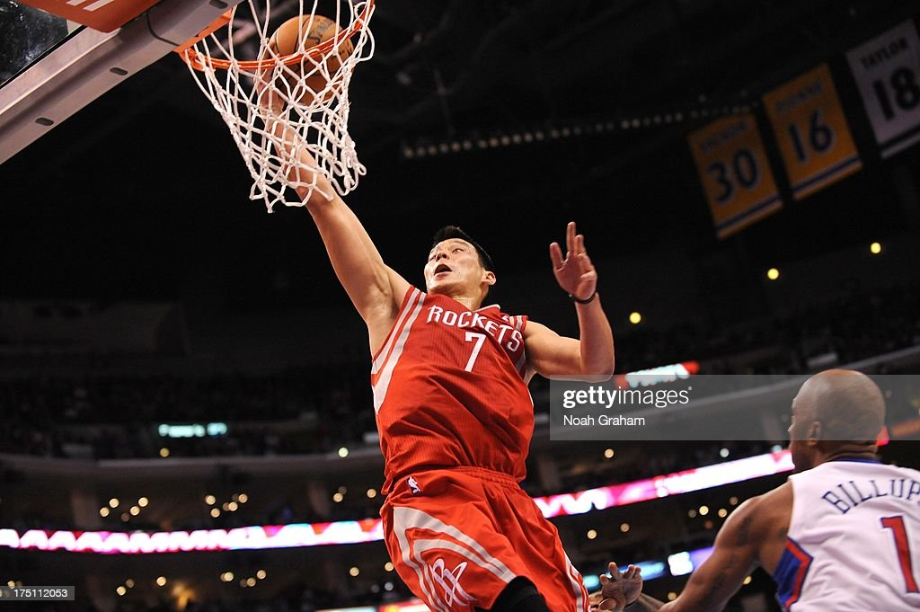 Jeremy Lin #7 of the Houston Rockets goes to the basket during the game between the Los Angeles Clippers and the Houston Rockets at Staples Center on February 13, 2013 in Los Angeles, California.