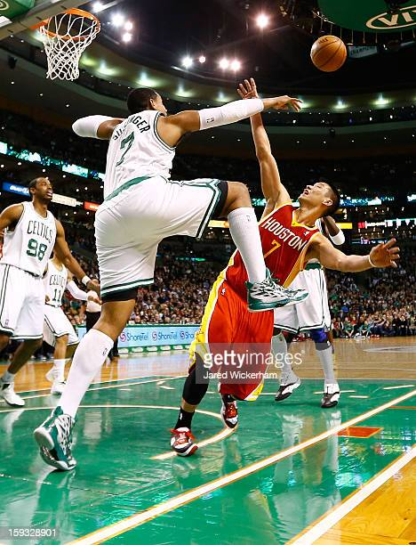 Jeremy Lin of the Houston Rockets has his shot blocked by Jared Sullinger of the Boston Celtics during the game on January 11 2013 at TD Garden in...