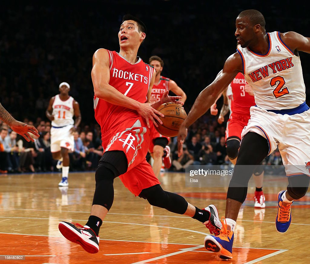 Jeremy Lin #7 of the Houston Rockets heads for the net as Raymond Felton #2 of the New York Knicks defends on December 17, 2012 at Madison Square Garden in New York City.