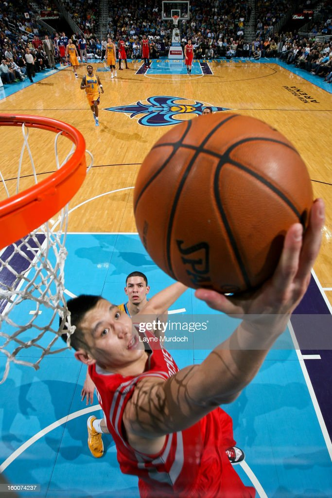 Jeremy Lin #7 of the Houston Rockets shoots a reverse layup against the New Orleans Hornets on January 25, 2013 at the New Orleans Arena in New Orleans, Louisiana.