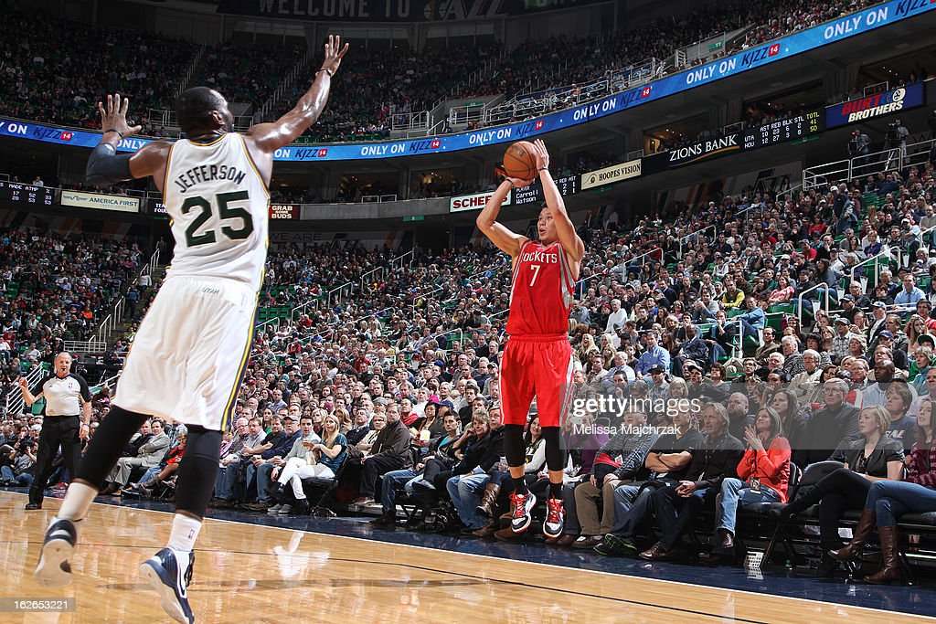 Jeremy Lin #7 of the Houston Rockets takes a shot against the Utah Jazz at Energy Solutions Arena on January 28, 2013 in Salt Lake City, Utah.