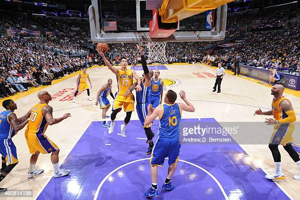 Jeremy Lin of the Los Angeles Lakers shoots against the Golden State Warriors on December 23 2014 at Staples Center in Los Angeles California NOTE TO...