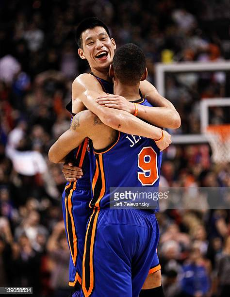 Jeremy Lin of the New York Knicks celebrates with Jared Jeffries after the win over the Toronto Raptors at the Air Canada Centre February 14 2012 in...