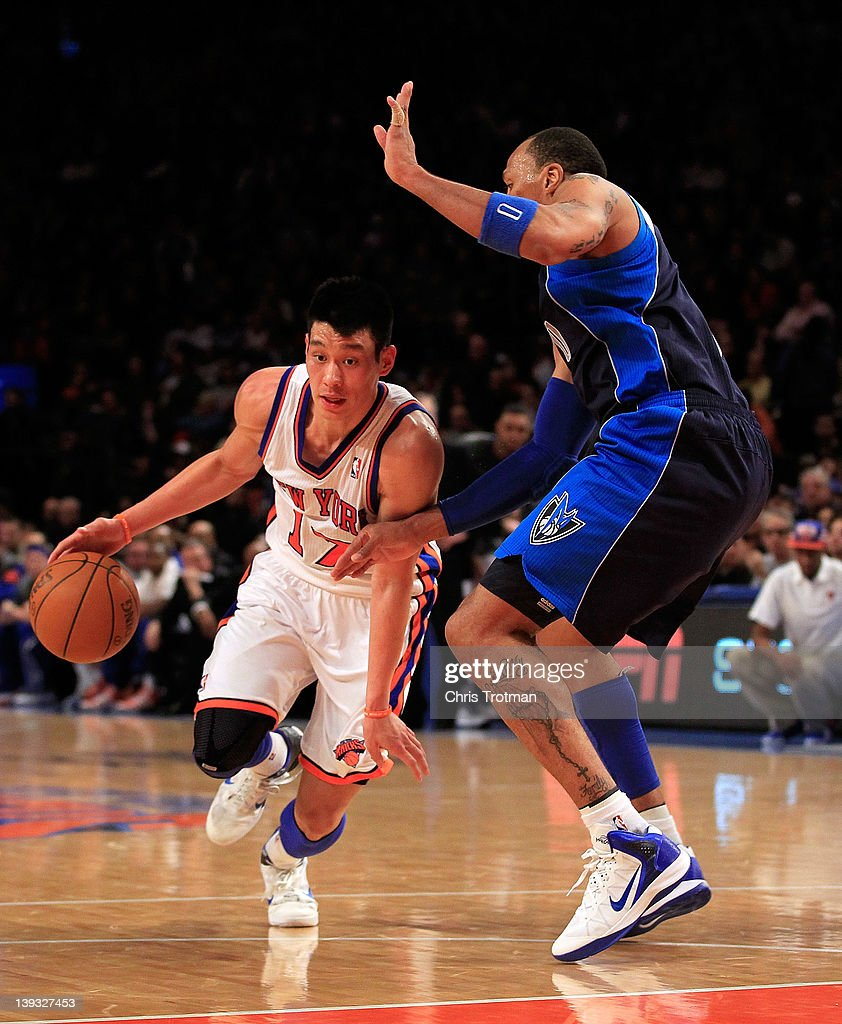 Jeremy Lin #17 of the New York Knicks drives against Shawn Marion #0 of the Dallas Mavericks at Madison Square Garden on February 19, 2012 in New York City.
