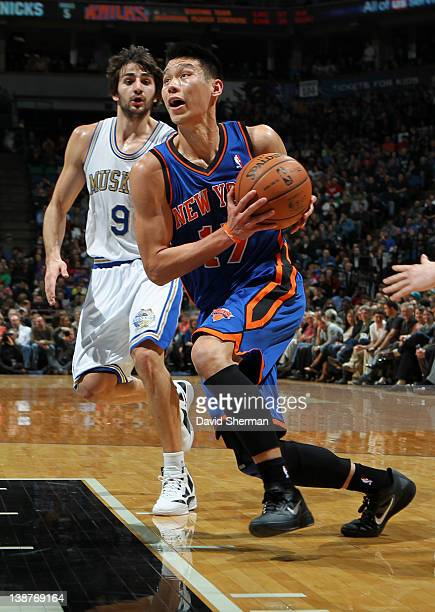 Jeremy Lin of the New York Knicks drives to the basket against Ricky Rubio of the Minnesota Timberwolves during the game on February 11, 2012 at...