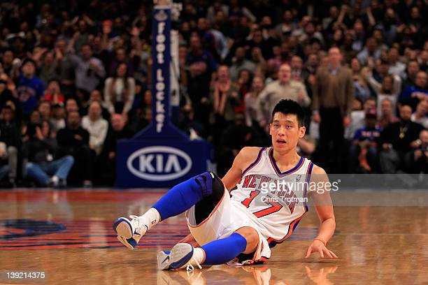 Jeremy Lin of the New York Knicks falls to the court against the New Orleans Hornets at Madison Square Garden on February 17, 2012 in New York City....
