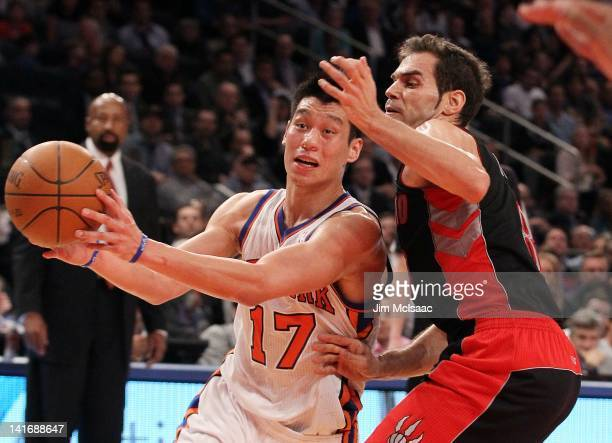 Jeremy Lin of the New York Knicks in action against Jose Calderon of the Toronto Raptors on March 20 2012 at Madison Square Garden in New York City...