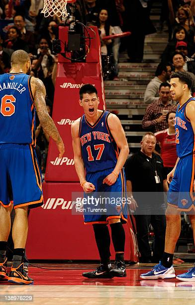 Jeremy Lin of the New York Knicks reacts after the final buzzer during the defeat of the Toronto Raptors on February 14, 2012 at the Air Canada...