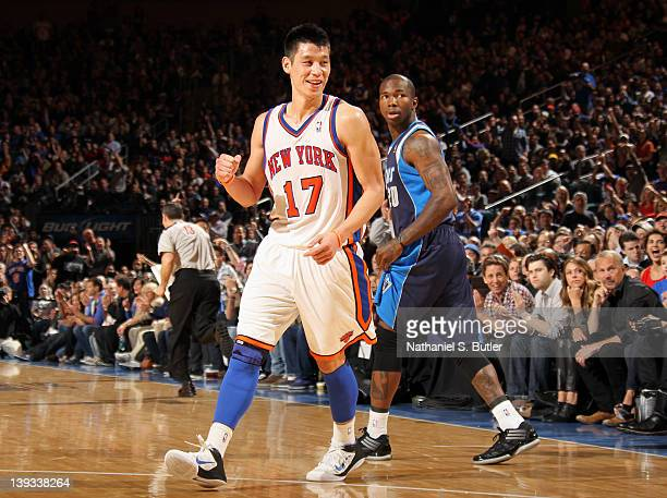 Jeremy Lin of the New York Knicks reacts to the game action against the Dallas Mavericks on February 19 2012 at Madison Square Garden in New York...