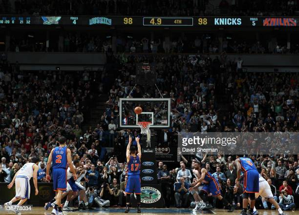 Jeremy Lin of the New York Knicks takes what would be the game winning free throw during the game against the Minnesota Timberwolves on February 11...