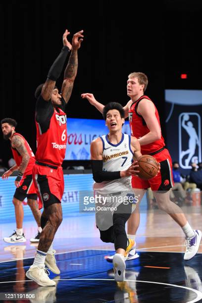Jeremy Lin of the Santa Cruz Warriors drives to the basket against the Raptors 905 on February 15, 2021 at AdventHealth Arena in Orlando, Florida....