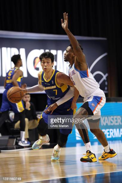 Jeremy Lin of the Santa Cruz Warriors drives to the basket against the Oklahoma City Blue on March 6, 2021 at HP Field House in Orlando, Florida....