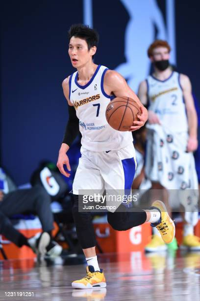 Jeremy Lin of the Santa Cruz Warriors handles the ball against the Raptors 905 on February 15, 2021 at AdventHealth Arena in Orlando, Florida. NOTE...