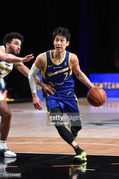 Jeremy Lin of the Santa Cruz Warriors handles the ball against the Fort Wayne Mad Ants on February 18, 2021 at AdventHealth Arena in Orlando,...