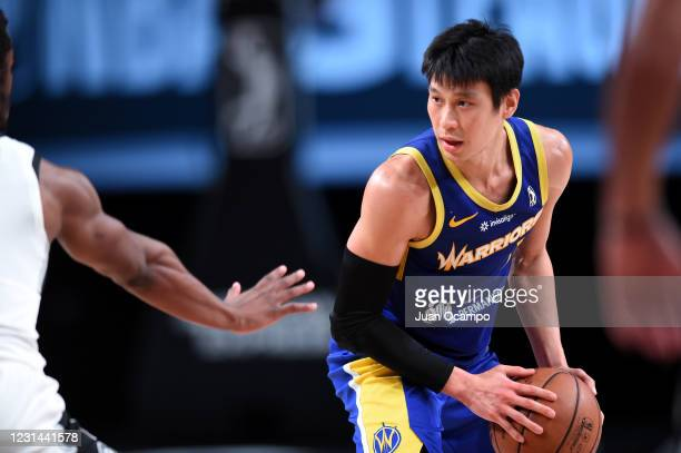 Jeremy Lin of the Santa Cruz Warriors handles the ball against the Austin Spurs on February 28, 2021 at AdventHealth Arena in Orlando, Florida. NOTE...