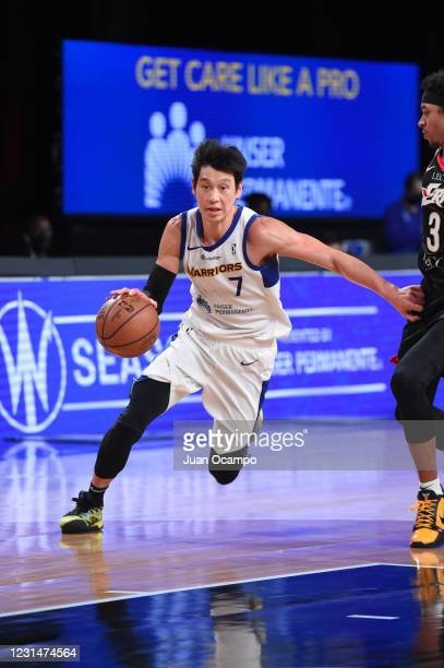 Jeremy Lin of the Santa Cruz Warriors handles the ball against the Erie BayHawks on March 2, 2021 at AdventHealth Arena in Orlando, Florida. NOTE TO...